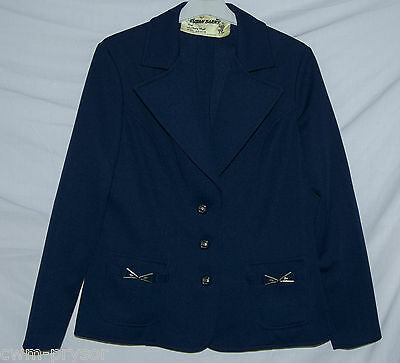 Vintage Original 1960s / 70s Susan Barry Navy Blue Jacket Size 14 / 16