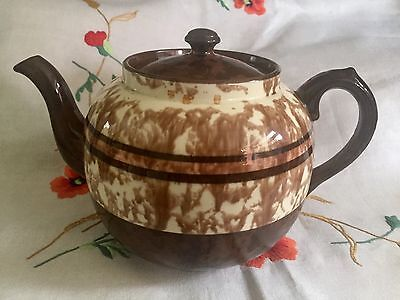 Vintage Pottery Made In England Full Teapot - Brown Betty Cream Stripe Retro
