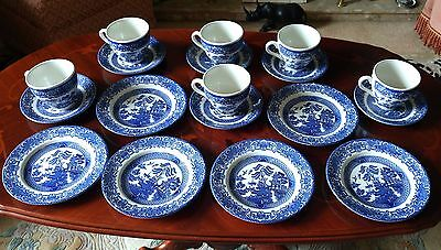 Six Willow Pattern cups saucers and plates Old Willow English Ironstone tablewar