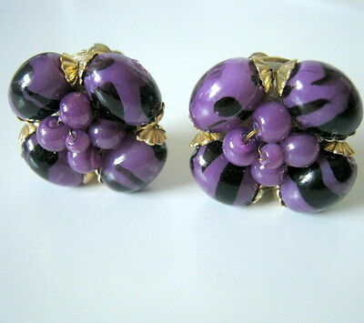 Cluster Earrings, Vintage Purple and Black Clip On Earrings, Made in Hong Kong