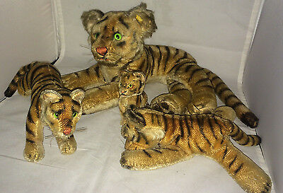 """Vintage Auth Steiff Tiger Family, Large 24"""" & 3 Baby Tigers Mohair Glass Eyes"""