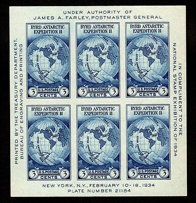 US Stamps: 735 Souvenir Sheet 1934 Byrd Antarctica Expedition  FREE SHIPPING 2US