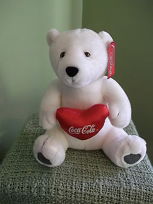 "Coca Cola brand 12"" White Plush Polar Bear w. Satiny Coca Cola Heart 2002 Tags"