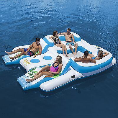 Inflatable Party Island Floating Raft Water Boat Sports Beach River Lounge Toys
