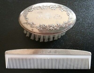 Antique Sterling Silver Baby Brush & Comb Dated 1901 Lullaby
