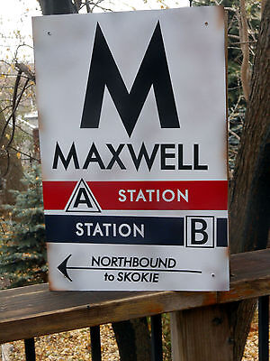Chicago Reproduction CTA Sign -MAXWELL CTA A/B Station 1950's SECRET LINE