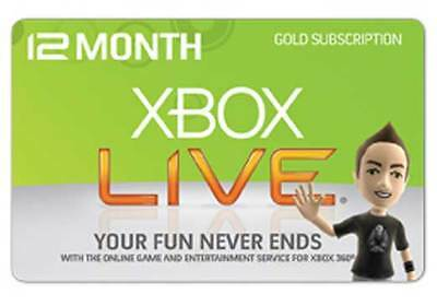 Xbox Live 12 Month Gold Membership Xbox 360 / Xbox One Fast Dispatch / Uk Seller