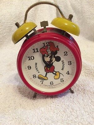 1970s Vintage Retro Authentic Mickey Mouse Disney Alarm Clock Twin Bell Bradley