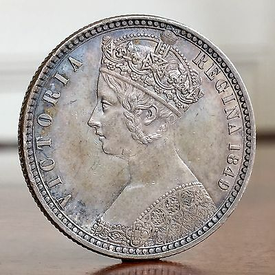 Victoria, Florin, 1849. Godless Type, WW Completely Obliterated. Crisp Tone.