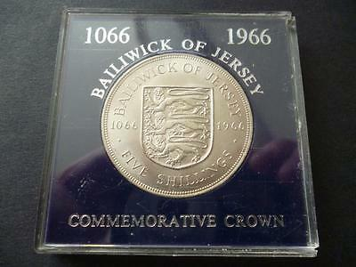 Jersey 1966 Five Shillings-Crown- uncirculated, The Norman Conquest, cased.