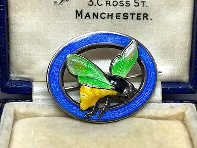 Vintage Art Deco Enamel Wasp Insect Bug Sterling Silver Brooch