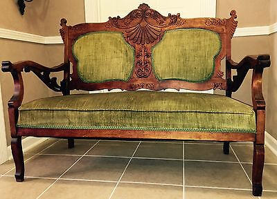 *REDUCED!*ANTIQUE!☆Settee☆Couch☆Sofa☆Chair☆Bench☆CARVED☆WOOD☆FRENCH☆GREEN☆VELVET