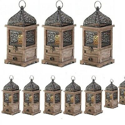 10 Large Lantern Wood Candle Holder Wedding Centerpieces With Drawer