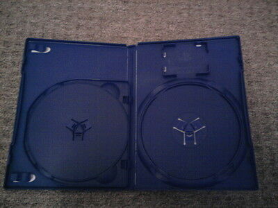 x2 14mm Blue PlayStation 2 PS2 Amaray Game Double Disc Case with Card Holder