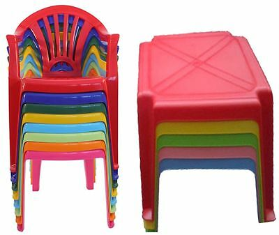 Strong Children Kids Plastic Table and Chairs Nursery Set Outdoor indoor Tea Set