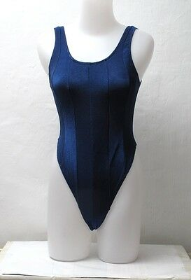 Dark Blue Spandex Thong Leotard for Women size 14 Medium