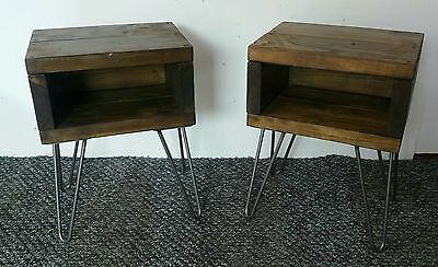 X2 Rustic Retro Vintage solid wood bedside tables with hairpin legs - PAIR