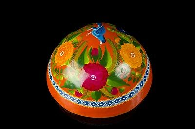 Lacquered Hand Painted Orange Gourd Olinala Guerrero Mexican Folk Art Lg2