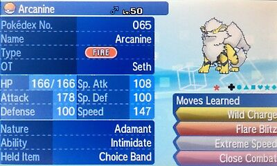 Shiny 6IV EV Trained Clover Adamant* Intimidate Arcanine Ultra/Sun/Moon + Item
