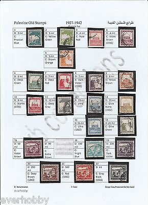 PALESTINE RARE 1927-42 Stamps on A4 Sheet with 21 used F/VF (Read Description)