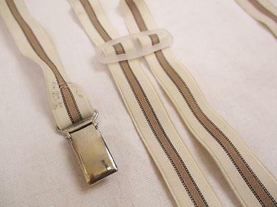 M Vintage 70's Mens Braces Trouser Suspenders Skinny Brown Stripe Mod Retro Folk