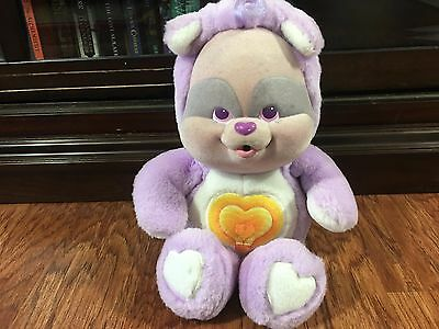 "1986 Care Bears Cousins Bright Heart Raccoon Baby Cub Plush 11"" Kenner"