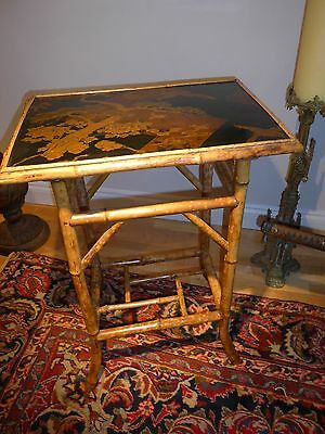 Beautiful Antique Japanese Raised Lacquered Table Sparrow Eagle Bamboo Meiji