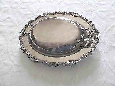Vtg Silver  Vegetable Oval Serving Covered Dish Crosby