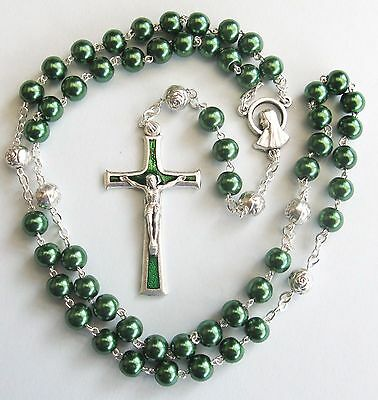 Handmade Green Glass Pearl Rosary with Silver Plated Our Father beads