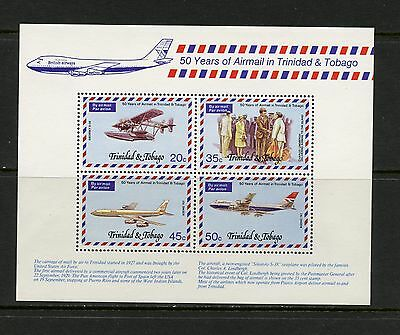 Trinidad & Tobago 1977  #271A  Lindbergh's plane aviation jets  sheet  MNH  K196