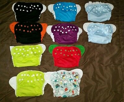 Huge lot 10 AppleCheeks Pocket Cloth Diaper Covers, Size 1 stash reusable baby