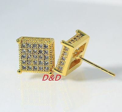10mm Mens Ladys18k Yellow Gold Filled  Square Cubic Zirconia Earrings Studs