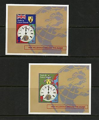 Turks & Caicos 2000 #1291-2  Millenium flags arms  sheets  MNH  K198