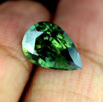 Certified Natural Green Sapphire 3.89ct SI Clarity Pear Madagascar Gem