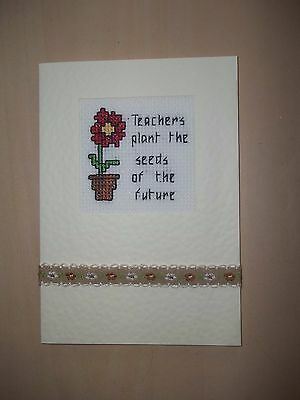 completed cross stitch card thank you teacher flower