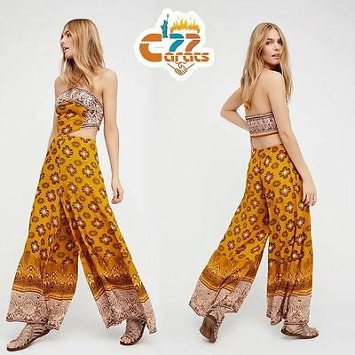 Vintage 70s Hippie fSEXY BACKLESS wide leg BOHO ethnic printed INDIA Jumpsuit