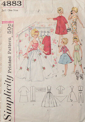Vintage 50s Sewing Pattern Simplicity 4883 Barbie, Tammy, Darci Doll Clothes