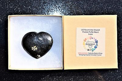 [1] Starburst Flash Nuummite Crystal Puffy Heart / Palm Stone ZENERGY GEMS™