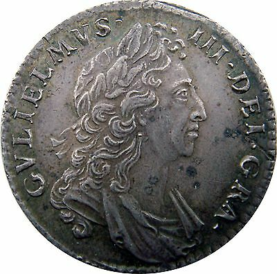 1697 William III one shilling coin first bust (c.1662-1816) spink 3497