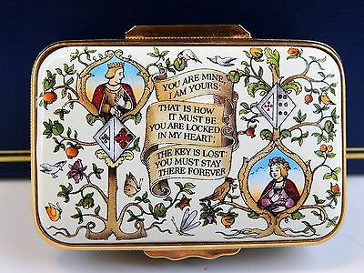 Halcyon Enamel Over Copper Box Rectangle -Lines From A Medieval German Poem, MIB