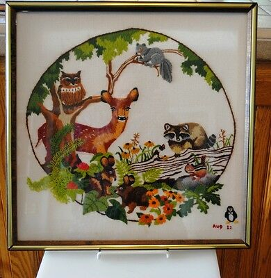 Vintage Finished Crewel Embroidery Babes in the Woods 1982 Forest Deer Owl