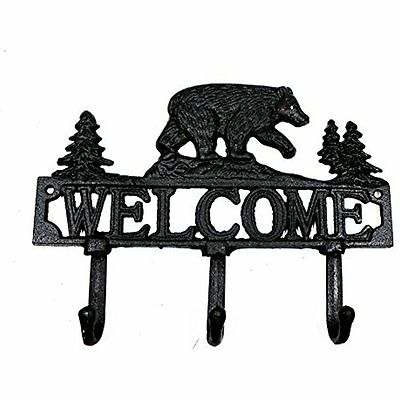 """8"""" Cast Iron Forest Bear and Welcome Triple Coat Hooks Clothes Rack Key Chain"""