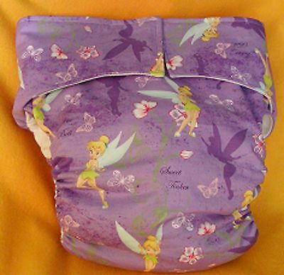 Adult New AIO Reusable Super Absorbent Cloth Diaper S,M,L,XL Tinkerbell Flowers