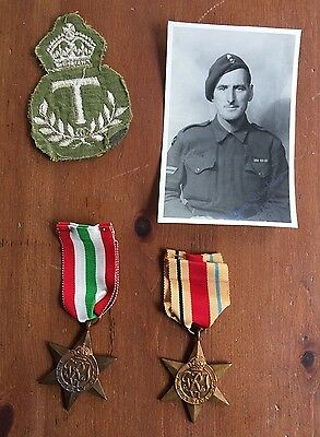 WW II Military Great Britain Lot Italy & Africa Star Medal Photo Letter T Patch