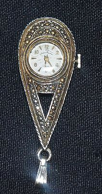 Vintage Pendant Watch - Andre Bouchard - Marcasite - Works Good