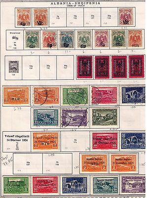 Albania Stamps,1920-25 SC#129//177Selection on Album page MH/Used Cat.$77