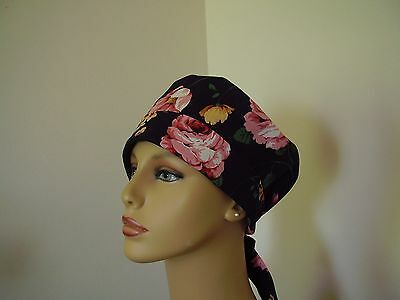 PIXIE- Scrub Hat/Chemo Cap- Floral Roses on Navy-Handmade-One size