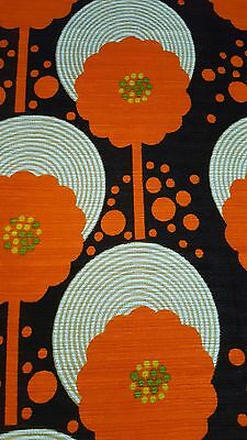 AWESOME RARE Vintage Mid Century long record flower retro 70s curtain fabric!!!