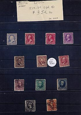 US Stamps SC# 219-29 Cpl. Used Set Cat.$355