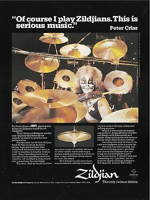 1979 ZILDJIAN CYMBALS PRINT AD with Peter Criss of KISS